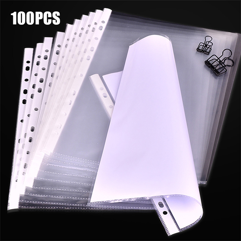 100pcs A4 Clear File Foler Plastic Punched Pockets Folders Filing Thin 11Holes Loose Leaf Office Documents Sheet Protectors
