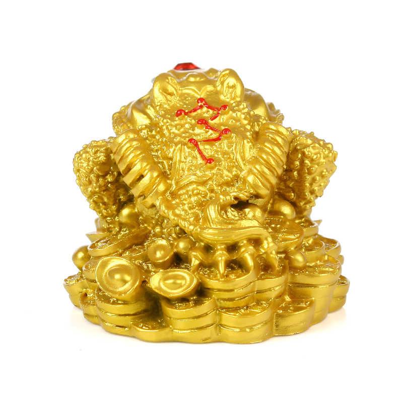 Feng Shui sapo dinero fortuna y riqueza de la suerte Rana Dorada china, sapo moneda hogar Oficina Decoración de mesa adornos de la suerte