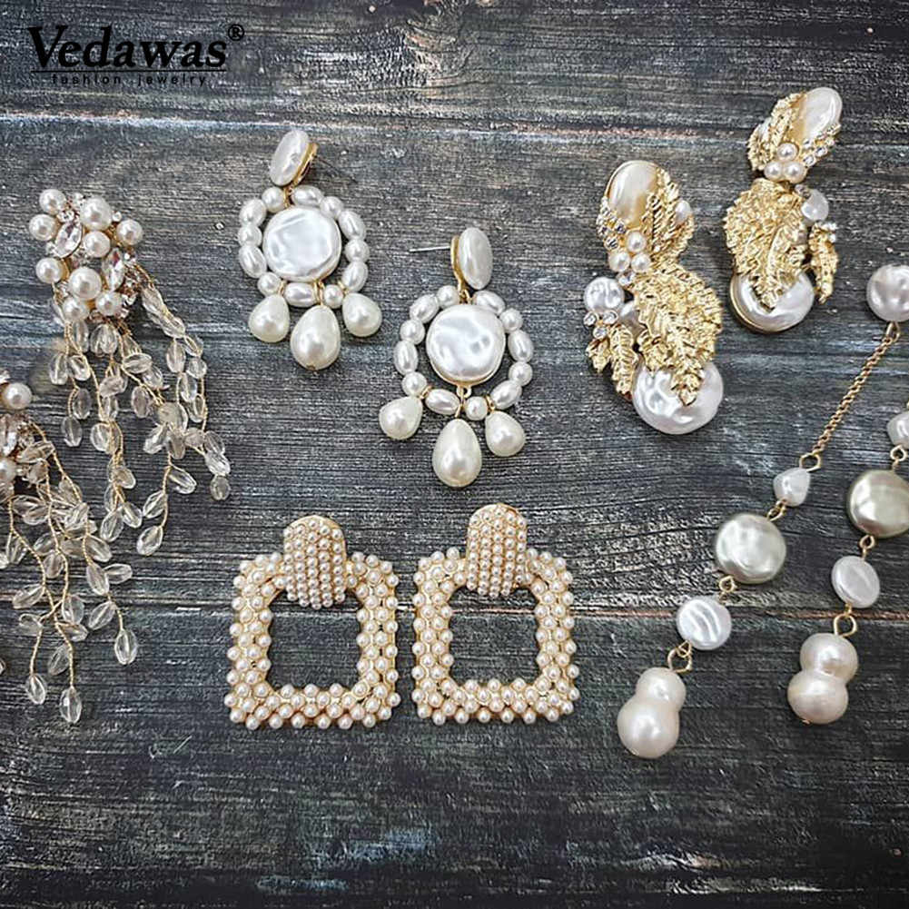 Vedawas ZA 2019 Earrings Maxi Simulated Pearls Statement Drop Dangle Earrings for Women Jewelry Accessories Wholesale