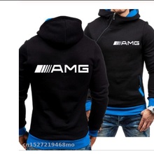 2020 novos homens esportes casuais hoodies para o logotipo amg sweatshirts moda magro pulôver hoodies lado zíper corrida passeio outwear x