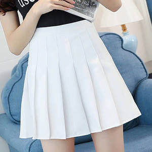 Tennis Skirts Pleated Satin A-Line School-Vacation Pink Women's Slim-Waist Fashion Casual