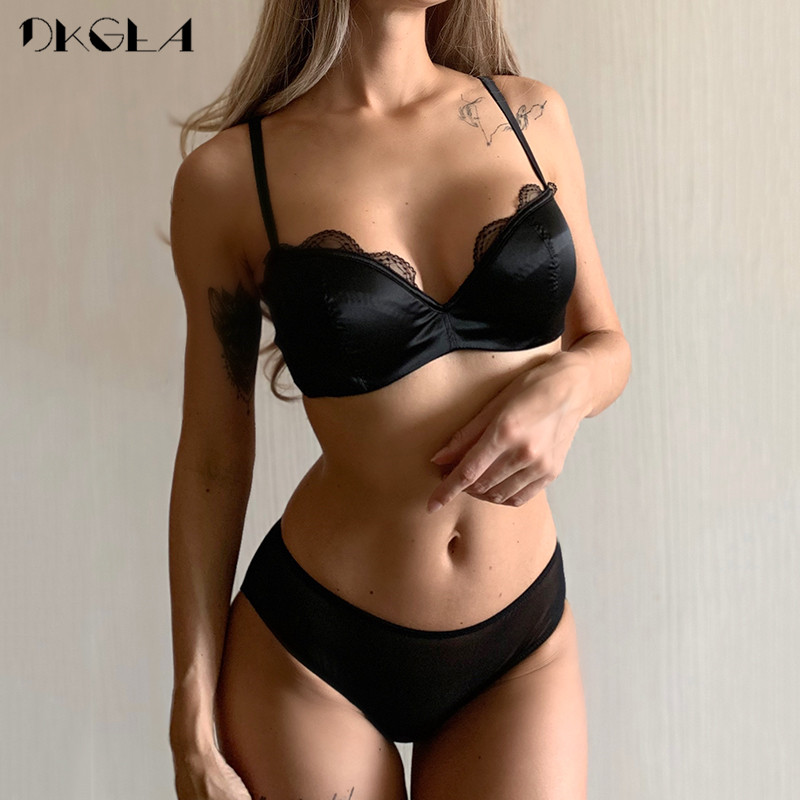 Classic Black Satin Brassiere Comfortable Half Cup Bra Set Women Lingerie Lace Thin Cotton Underwear Set Sexy Bras B C D Cup