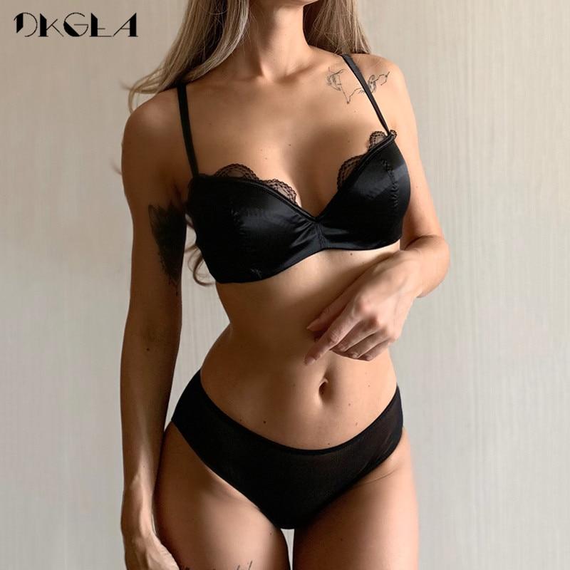 Classic Black Satin Brassiere Comfortable Half Cup Bra Set Women Lingerie Lace Thin Cotton Underwear Set Sexy Bras B C D Cup
