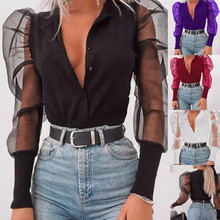 stand collar button mesh puff long sleeve shirt RK