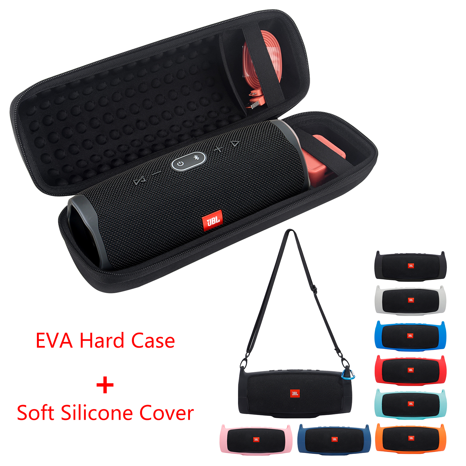 2020 Newest EVA Hard Case Travel Carrying Zipper Storage Bag   Soft Silicone Case Cover for JBL Charge 4 Bluetooth Speaker