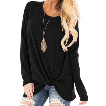 2020 New Spring Women's Long Sleeve Crewneck Pullovers Solid Color Casual Tunics Tops Blouses Twisted for Winter 4