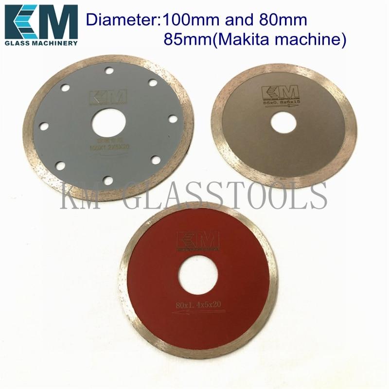 10 шт. Бесплатная доставка! D80 * Hole20(16) мм/D100 * Hole20(16) мм или D85 * hole15 мм (режущая машина Makita), стеклянные алмазные режущие лезвия.