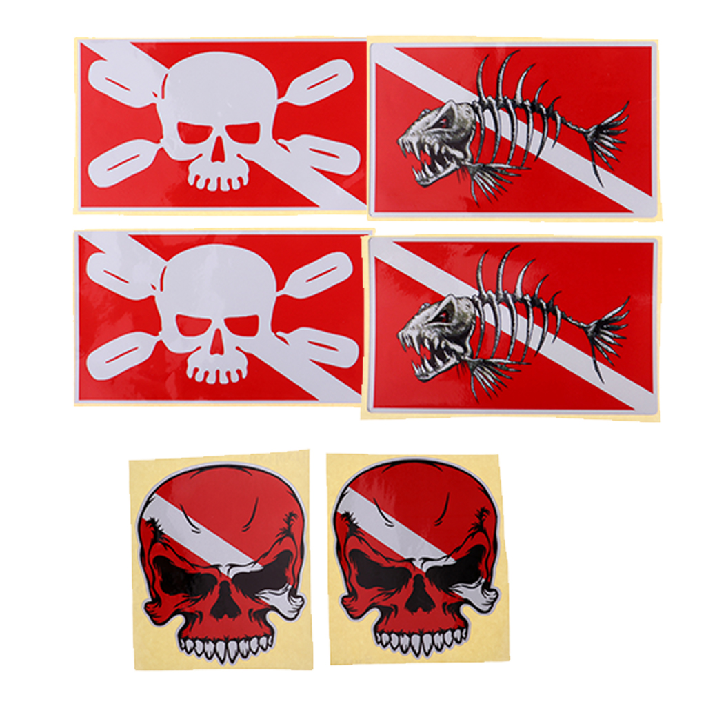 Set Of 6pcs Scuba Diving Flag Stickers Dive Gear Tank Bag Decals Flippers Decoration
