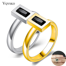 Brand Trendy Female Square Crystal Wedding Rings For Couples Lovers Women Stainless Steel