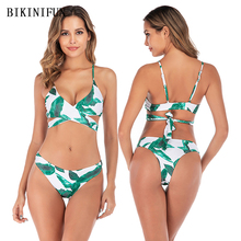 New Sexy Leaves Print Bikini Women Swimsuit Cross Waist Bandage Swimwear S-L Girl Backless Padded Bathing Suit Micro Set