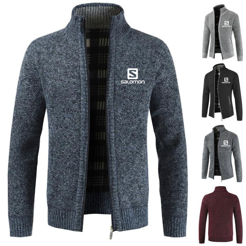 2019 New Men's Color Sweatercoat Male Autumn Winter Thick Sweater Coat Salomon Outerwear Slim Fit Wool Fleece Sweaters Jacket A