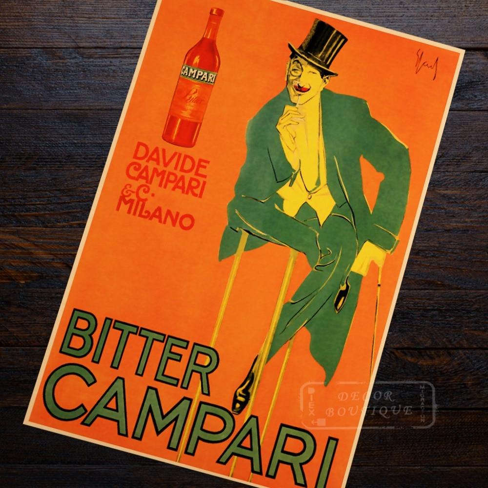 advertisement bitter campari propaganda retro vintage kraft poster decorative diy wall canvas sticker home bar posters decoratio