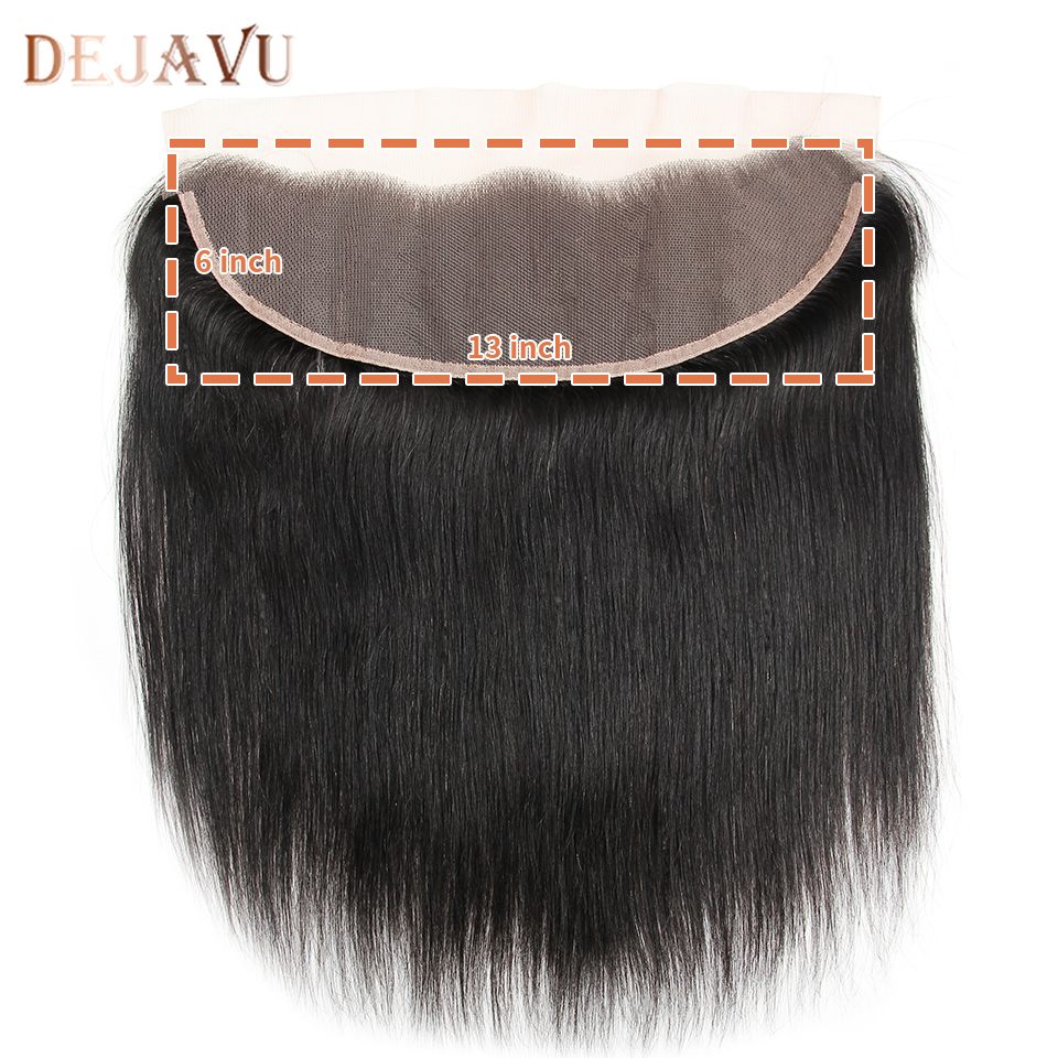 Dejavu Brazilian Straight Pre Plucked Ear To Ear 13x6 Lace Frontal Closure With Baby Hair Non Remy 100% Human Hair Swiss Lace