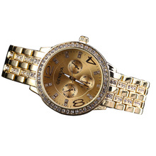 Fashion Alloy Business Diamond Watch Ladies Gold Steel Belt Alloy  Quartz Round Sapphire Crystal Limited Edition Quartz Watch new fashion lady diamond business steel belt quartz watch