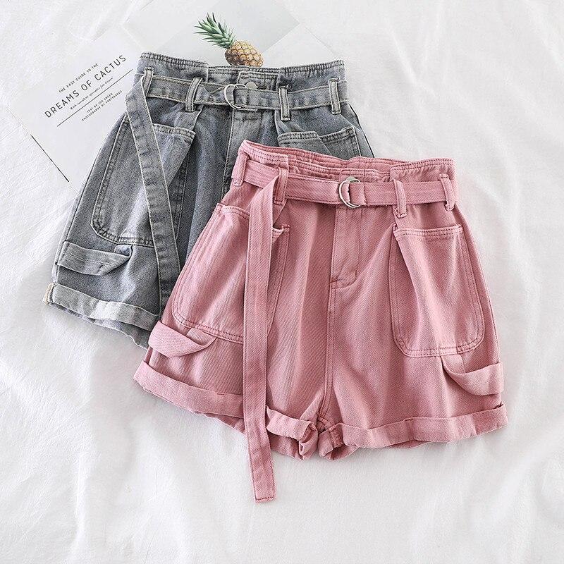 Retro Denim Shorts Women Spring Summer Wide Leg Shorts With Belt Casual Hotpants Pink White Jeans High Waist Women Shorts C6129