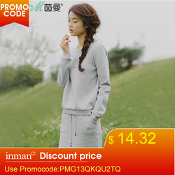 INMAN Women'S Spring Autumn Florals Letter Embroidered Casual Pullovers Suit Two Piece