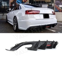 Carbon Fiber Rear Diffuser Lip Spoiler For Audi A6 Sline S6 C7 C7.5 2013-2018 (not for A6 Base ) K style Bumper Skid Plate Guard