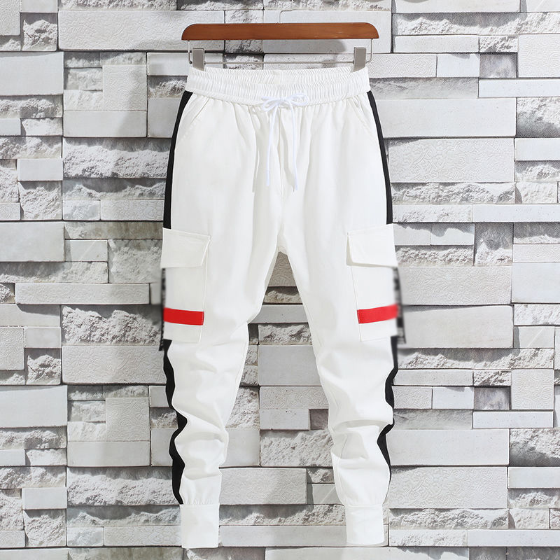 Idopy Men`s Street Style Harem Pants Elastic Wasit Drawstring Patchwork Cuffed Cargo Multi Pockets Joggers For Male