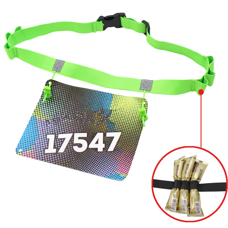 Men Women Triathlon Marathon Race Number Belt Running Waist Pack Cloth Bib Holder Run Bag With 6 Gel Loops Startnummernband