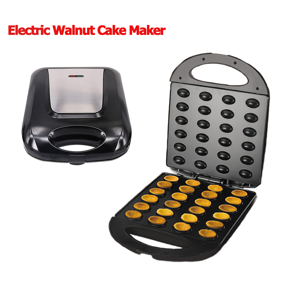 EU Plug Electric Walnut Cake Maker Automatic Mini Nut Waffle Bread Machine Baking Breakfast Pan Oven 1400W Egg Cake Oven Pan