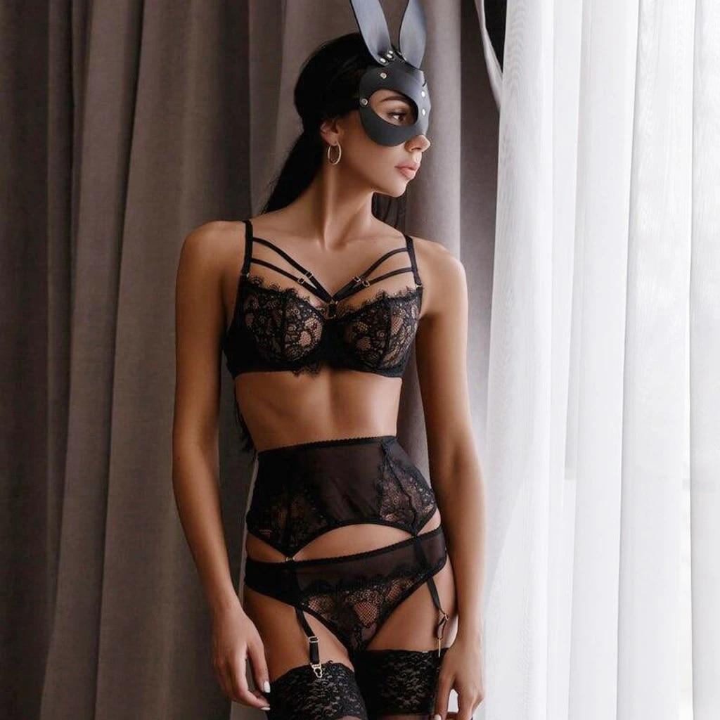 Women/'s Lace Underwire Bra Sleepwear Bandage Black Lingerie Garter Underwear