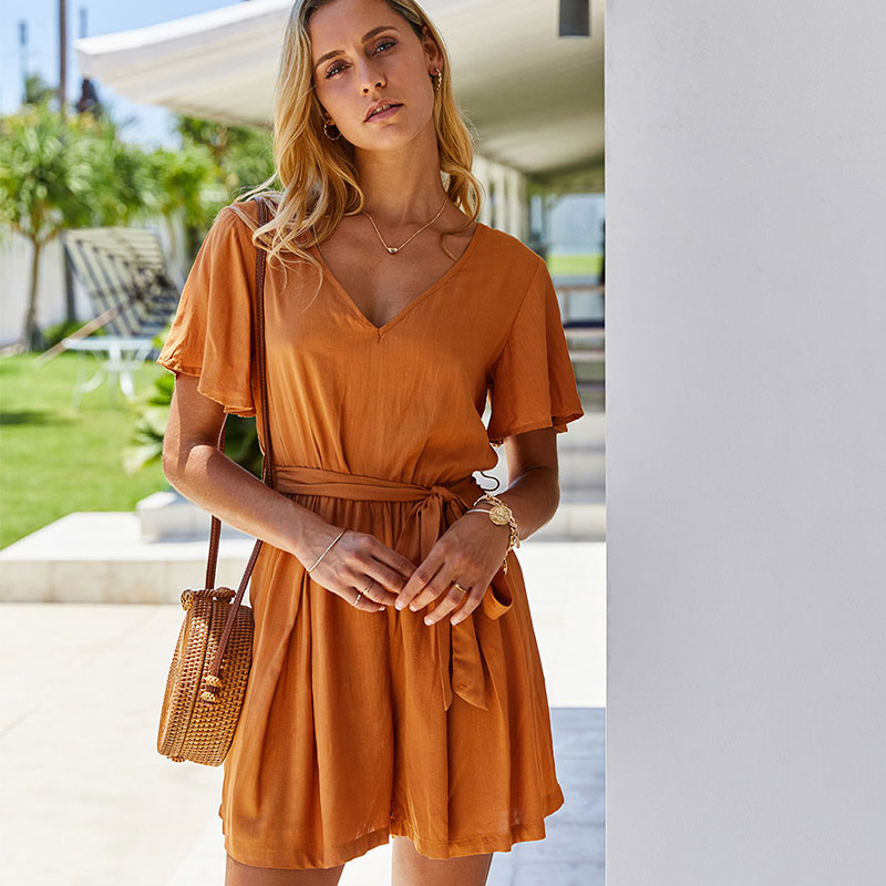 KNOYEER V-neck Boho Solid Short Jumpsuit 2020 Summer Women Fashion Sashes Rompers Girl High Street Sexy Jumpsuits For Women