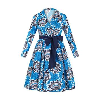 2021 New Floral Print African Dresses For Women Sexy Middle Evening Party Dress Ladies V-neck Kanga Africa Clothing Large Size - Blue, L