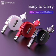 cafele 3 in 1 Retractable USB Cable Type-c for iPhone Charge
