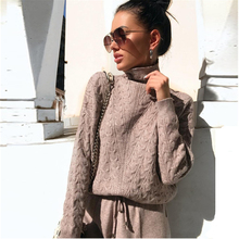 Jersey de cuello alto para mujer, sudaderas, pantalones de punto, conjuntos de dos piezas, chándal de punto cálido, traje deportivo para mujer