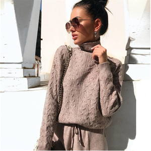 Image 1 - Turtleneck Pullover Sweatshirts Knit Pants Suit Two Piece Sets Women Autumn Winter Warm Knitted Tracksuit Sporting Suit Female