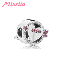 MISSITA 925 Sterling Silver Cupid Heart Arrow Beads fit Brand Bracelet DIY Jewelry Women Accessories Hot Sale