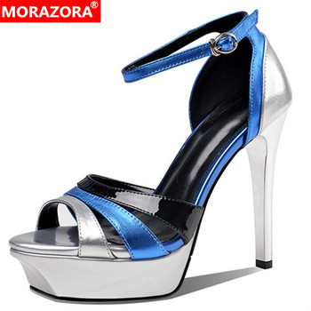 MORAZORA 2020 top quality genuine leather shoes women sandals buckle party wedding shoes ladies thin high heel platform sandals