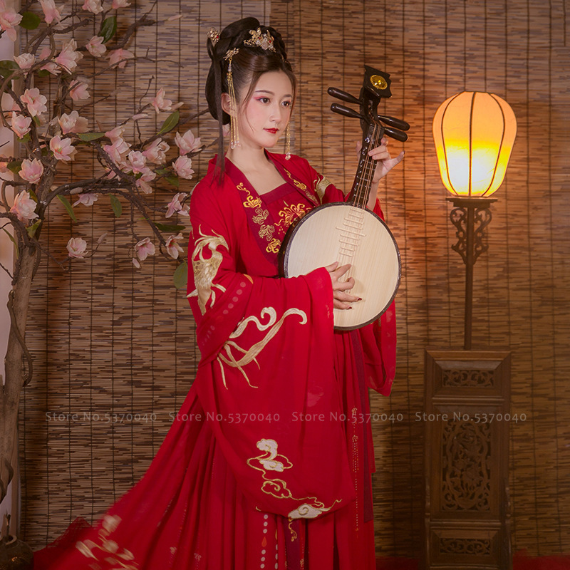 Chinese Traditional Women Hanfu Red Wedding Dress Tang Suit Ancient Long Robe Lady Kimono Tops Skirt Fairy Party Cosplay Costume