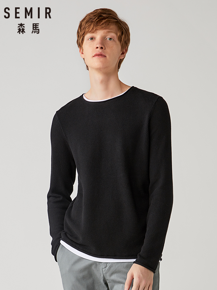 Semir Knitwear Men 2019 New Autumn Bottoming Shirt Round Neck Sweater Men Head Stitching Sweater Youth