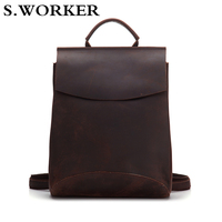 2020 Brand 100% Genuine Leather Backpack Men Women Laptop Rucksack High Quality Vintage Crazy Horse Cow Leather School Backpack