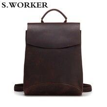 2020 Brand 100% Genuine Leather Backpack Men Women Laptop Ru