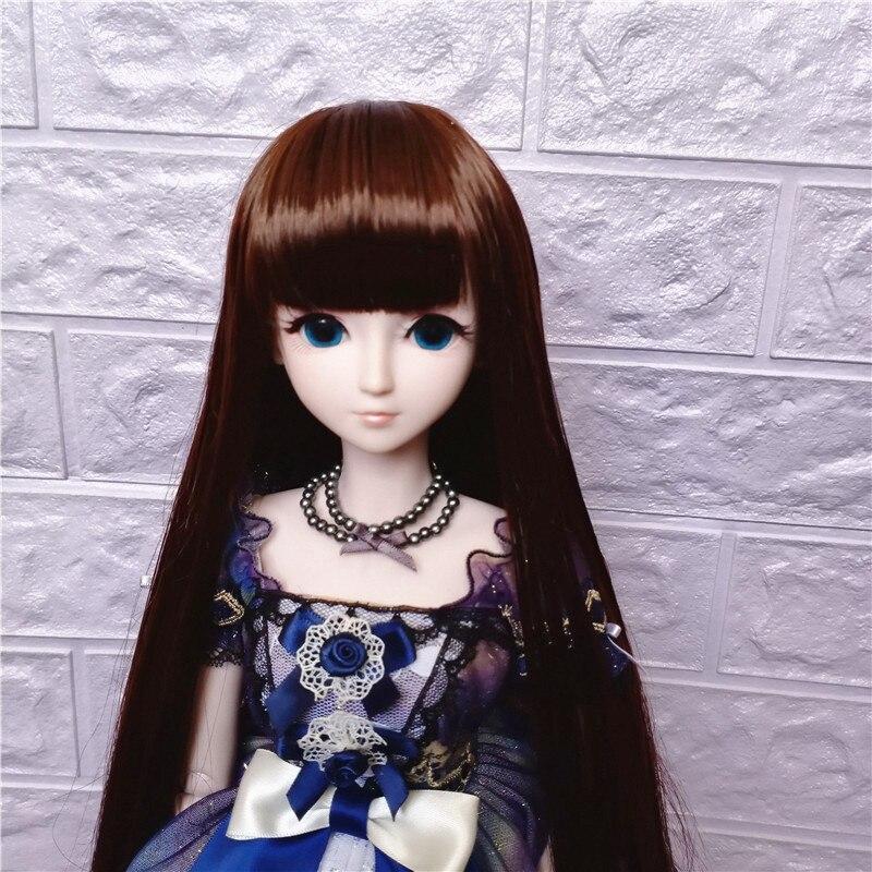 1/3 1/4 1/6 1/8 BJD Sd  Doll Wig Black High Temperature Fiber Heat Resistant Wire Long Straight Bangs Doll Hair