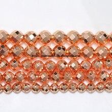 Perline sfaccettate in pietra di ematite naturale placcata oro rosa 4 6 8 10 MM 15