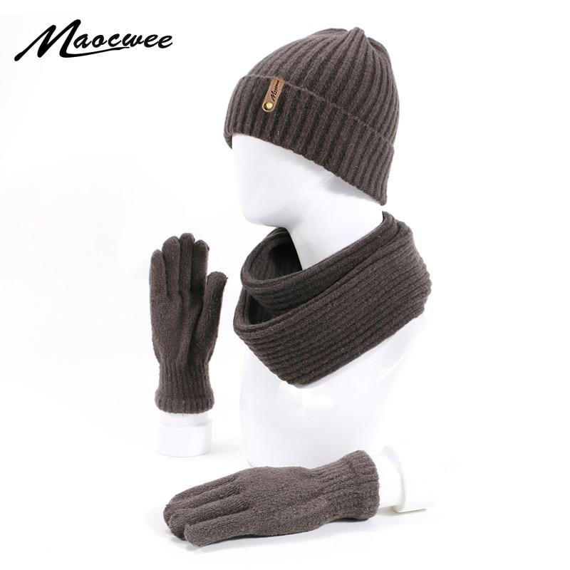 Unisex Beanie Hats Scarf Gloves Three-piece Winter Knitting Hat Men Women's Fashion Outdoor Warm Thick Beanie Hat Scarf Gloves