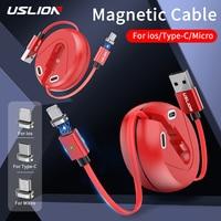 USLION-Mini Cable USB magnético retráctil para iPhone tipo C, Cable de carga rápida para Xiaomi, 3A