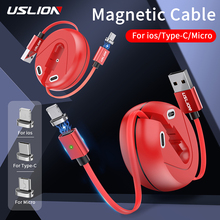 USLION 3A Mini Retractable Magnetic USB Cable Fast Charge for iPhone Type C Micro Cable Quick Charge For Xiaomi Data Line Cable