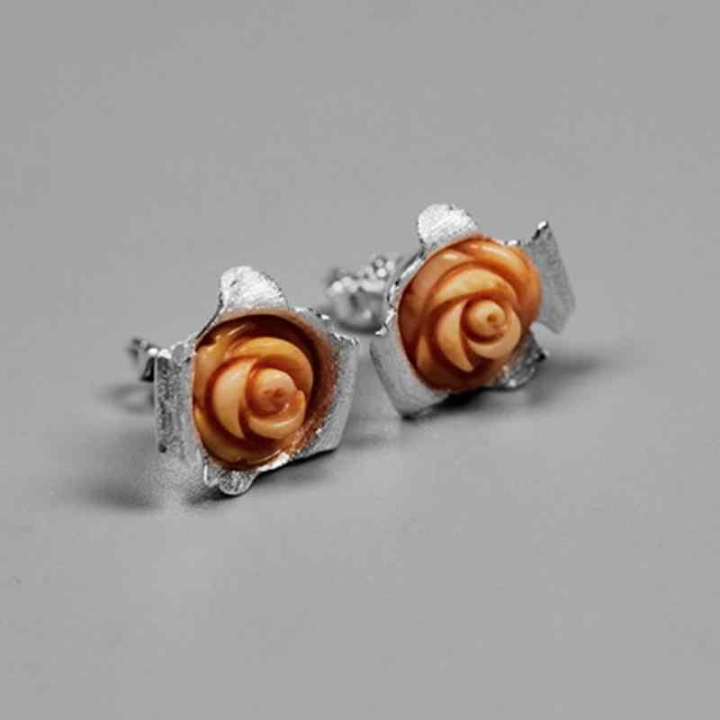 INATURE 925 Sterling Silver Coral Rose Flower STUD ต่างหูสำหรับผู้หญิงเครื่องประดับของขวัญวันวาเลนไทน์