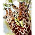 AMTMBS картина по номерам окраска животных Жираф рисунок на холсте маслом вручную Краски ed художественного портрета маслом «сделай сам» Краск...