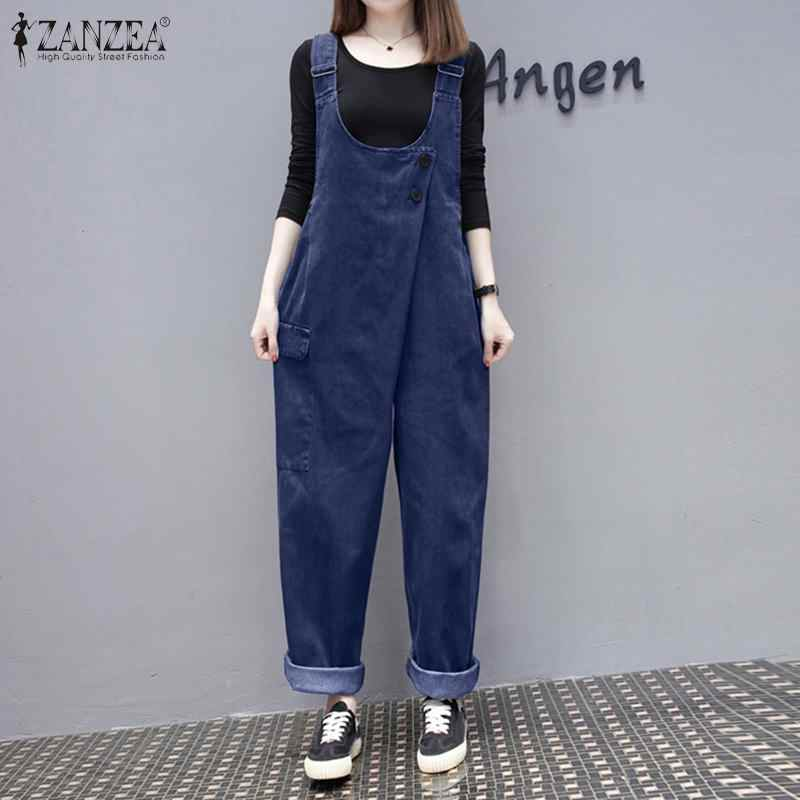 2020 Zanzea Zomer Effen Raap Jumpsuits Vintage Denim Blauw Losse Overalls Vrouwen Casual Bandjes Lange Rompertjes Vrouwelijke Harembroek