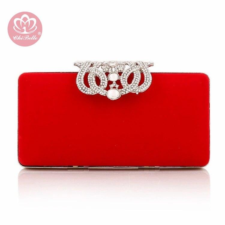 Chi Belle velours matériel strass simple design élégant femme soirée pochette cristal diamant sac à main couleurs en option