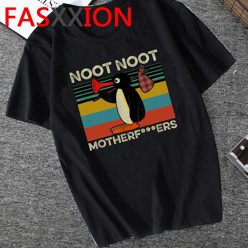 Funny Noot Noot Pingu T Shirt Men Summer Top T-shirt Kawaii Cartoon Graphic Tees Cute Pingu Tshirt Anime Top Streetwear Male
