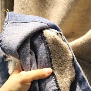 Image 3 - EWQ 2020 אביב סתיו באיכות גבוהה גולף צווארון ארוך שרוול מזויף שתי חתיכה ינס Knittng Streetwear סוודר נשים AH502