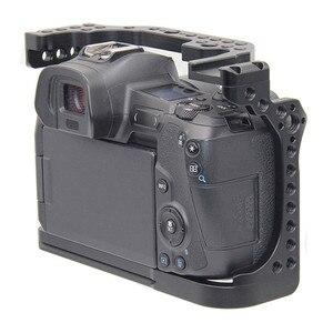 Image 3 - Schutzhülle Kamera Käfig für Canon EOS R w/ Coldshoe 3/8 1/4 Gewinde Löcher Arca Swiss Schnell Release Platte kamera Zubehör
