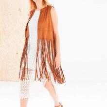 Women Autumn Winter Ethnic Sleeveless Tassels Fringed Vest Cardigan 2019 New Leather Jacket 8.29