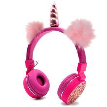 ユニコーンヘッドフォンワイヤレス Bluetooth 子供折りたたみステレオ音楽伸縮性漫画ヘッドセット少年少女のためのギフト